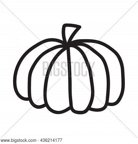 Pumpkin Black And White Icon. Doodle Pumpkin Sketch. Vector Illustration Of Vegetable Outline. Simpl