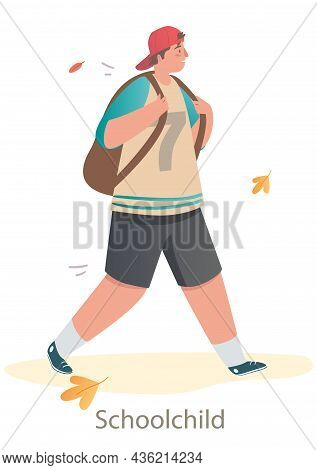 Little Cute Schoolchild Is Walking To School On White Background. Students And Little Pupils With Ba