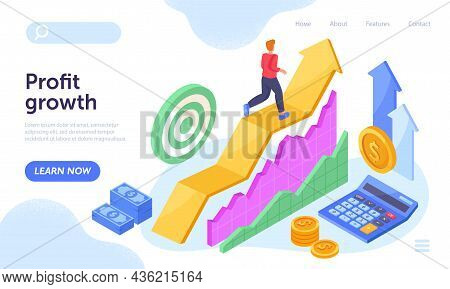 Young Man Is Running On Ascending Arrow Chart And Money Growth. Concept Of Profit Growth, Business D