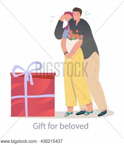 Young Man Is Surprising His Girlfriend With A Gift. Romantic Couple Is Having Fun Date Together. Con