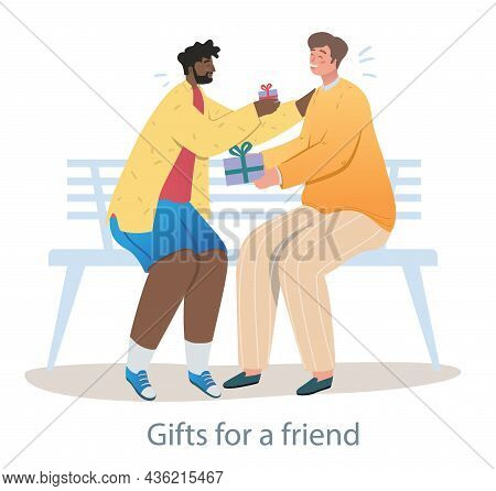 Cheerful Man Is Surprising His Best Friend With A Gift. Two Best Friends Are Having Good Time Togeth