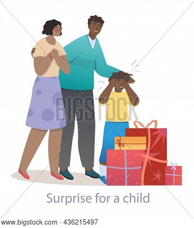 Husband And Wife Are Surprising Their Little Child With Big Presents. Happy Family Is Spending Time