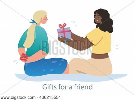 Smiling Woman Is Surprising Her Best Friend With A Small Present. Two Friends Are Spending Good Time