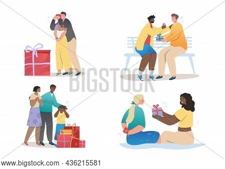 Set Of Happy Smiling People Giving And Receiving Gifts. Families, Friends, Romantic Couples And Chil