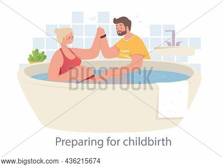 Cheerful Husband Helps His Wife To Prepare For Childbirth. Women Are Trying To Prepare Themselves Fo