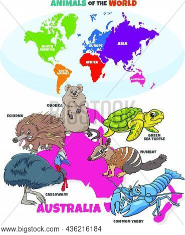 Educational Cartoon Illustration Of Typical Australian Animal Species And World Map With Continents