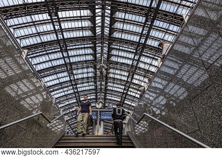 Cologne, Germany - September 7, 2014: People Hurry To The Intercity Train In Cologne, Germany. With