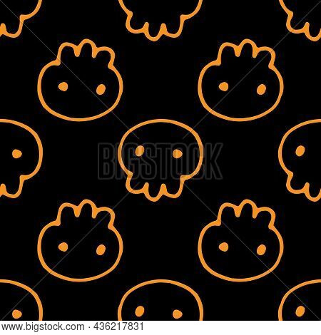 Seamless Orange Skull Pattern For Halloween. Vector Pattern Of A Cute Skull Drawn In A Doodle Style