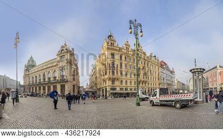 Prague, Czechia - January 1, 2020: People At Municipal House - Art Nouveau Historical Building At Re