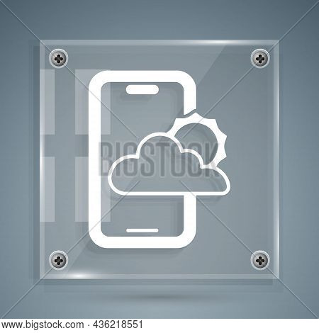 White Weather Forecast Icon Isolated On Grey Background. Square Glass Panels. Vector
