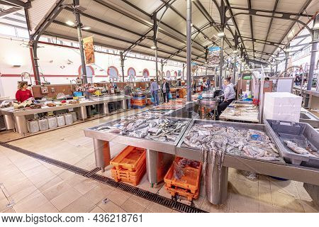 Loule, Portugal - March 13, 2020:  Interior Of The Traditional Portuguese Market In Loule, Algarve,