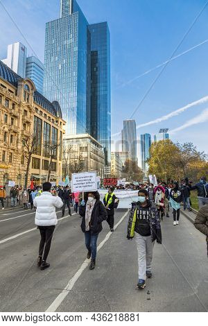 Frankfurt, Germany - November 21, 2020: People Demonstrate For A Free Ethiopia And Stopping The Civi