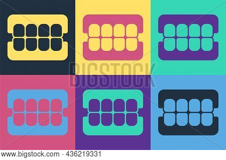 Pop Art False Jaw Icon Isolated On Color Background. Dental Jaw Or Dentures, False Teeth With Inciso