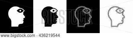 Set Man With Third Eye Icon Isolated On Black And White Background. The Concept Of Meditation, Visio