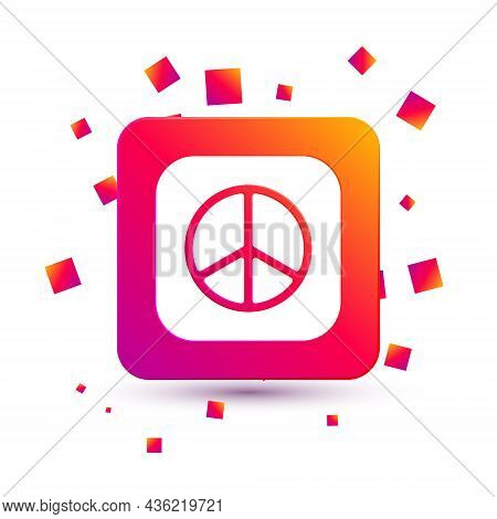 White Peace Icon Isolated On White Background. Hippie Symbol Of Peace. Square Color Button. Vector