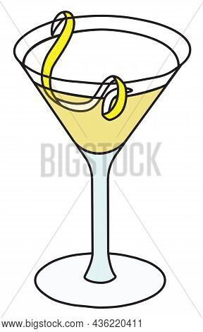 Gibson Martini Variation Cocktail In Specific Glass. Gin And Scotch Whiskey Based Drink Garnished Wi