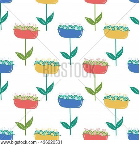 Floral Vector Seamless Pattern. Cute Delicate Childish Background With Fabulous Flowers. Trendy Summ