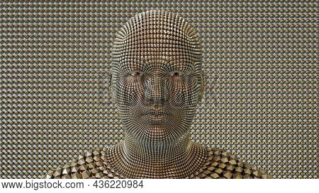 Trans Humanism Artificial Intelligence Robot Metal Android Human Machine Technology 3d Illustration