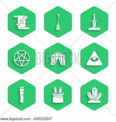 Set Circus Tent, Magician Hat And Rabbit Ears, Stone, Masons, Bottle With Potion, Pentagram In Circl