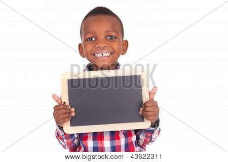 Adorable African Little Boy  With Slate