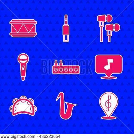 Set Sound Mixer Controller, Musical Instrument Saxophone, Treble Clef, Note, Tone, Tambourine, Micro