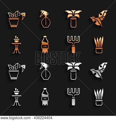 Set Bottle Of Water, Tropical Leaves, Plant In Pot, Garden Rake, On Table, Exotic Tropical Plant, Sp