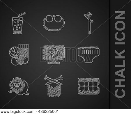 Set Grandmother, Knitting, False Jaw, Adult Diaper, Grandfather, Socks, Crutch Or Crutches And Glass