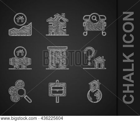 Set Multi Storey Building, Work Search, Shelter For Homeless, House With Question Mark, Search Money