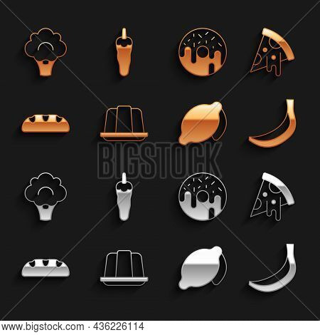 Set Jelly Cake, Slice Of Pizza, Banana, Lemon, Bread Loaf, Donut, Broccoli And Hot Chili Pepper Icon