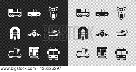 Set Bus, Pickup Truck, Scooter, Train And Railway, Trolleybus, Rafting Boat And Plane Icon. Vector