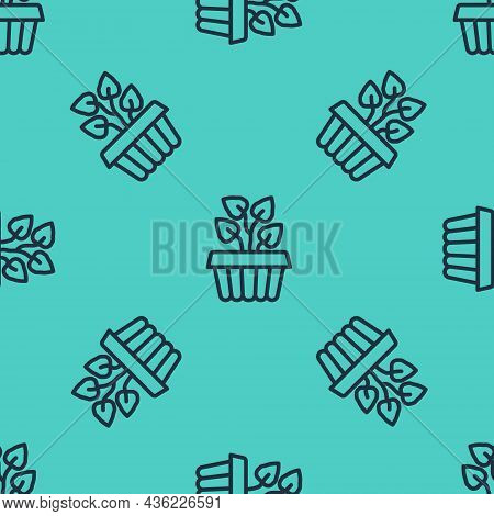 Black Line Indoor Plant Ivy In A Pot Icon Isolated Seamless Pattern On Green Background. Branch With