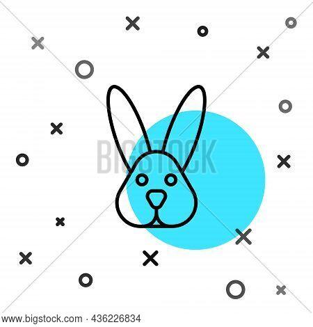 Black Line Animal Cruelty Free With Rabbit Icon Isolated Black Line Background. Random Dynamic Shape
