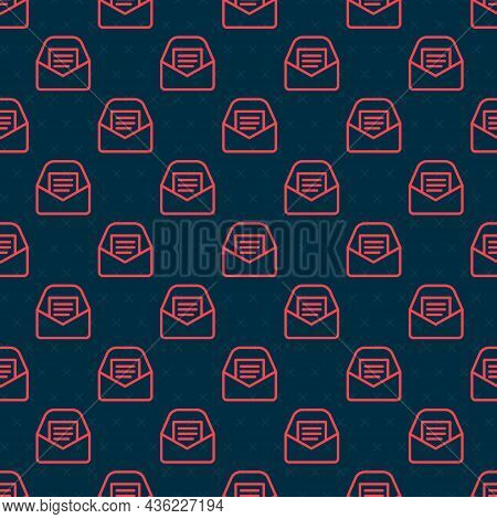 Red Line Mail And E-mail Icon Isolated Seamless Pattern On Black Background. Envelope Symbol E-mail.