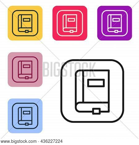 Black Line Law Book Icon Isolated On White Background. Legal Judge Book. Judgment Concept. Set Icons