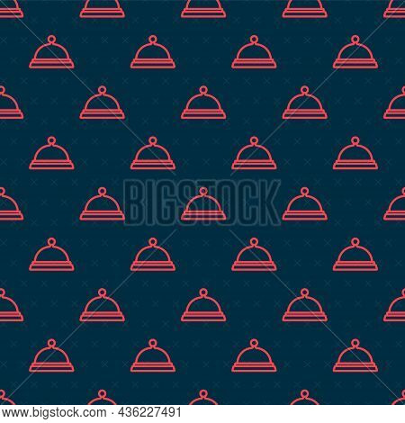 Red Line Covered With A Tray Of Food Icon Isolated Seamless Pattern On Black Background. Tray And Li