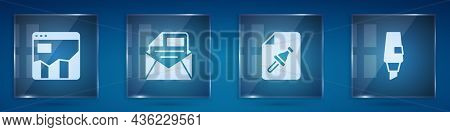 Set Graph Chart Infographic, Mail And E-mail, Note Paper With Push Button And Marker Pen. Square Gla