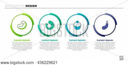 Set Steak Meat, Shrimp, Muffin And Eggplant. Business Infographic Template. Vector