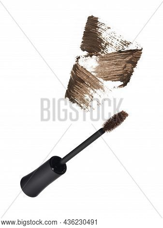 Black Mascara Brush With Brown Strokes Isolated On White Background