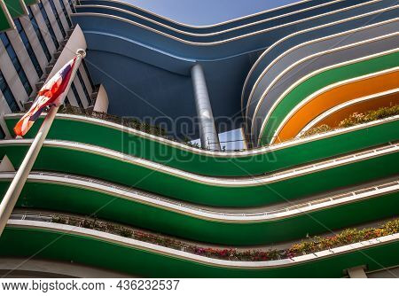 Bangkok, Thailand - 15 Nov 2020 : Underside View Of Curvilinear Balconies Of Modern Architecture.  M