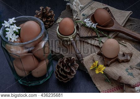 Fresh Farm Eggs On Beautiful Wooden Background, Nutrition Concept, Selective Focus, Oblique View Fro