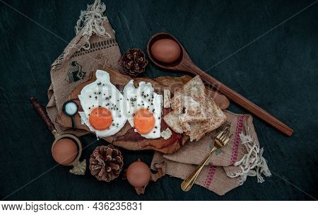 Two Fried Eggs With Toast For Healthy Breakfast On Beautiful Wooden Background, Nutrition Concept, T
