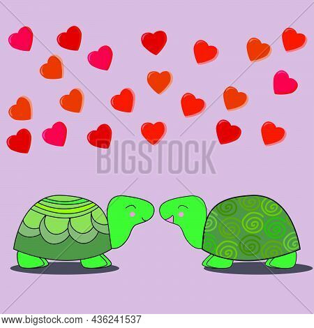 Cute Loving Turtles Look At Each Other Hearts Fly Above Them On Pink  Isolated Background