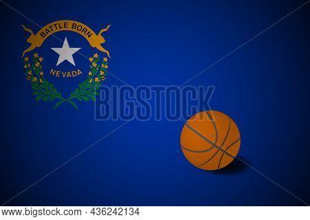 Nevada Flag With Realistic Basketball Ball, Vector