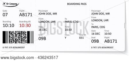 Airline Ticket Or Boarding Pass For Traveling By Plane. A Boarding Pass Is Required For Traveling By