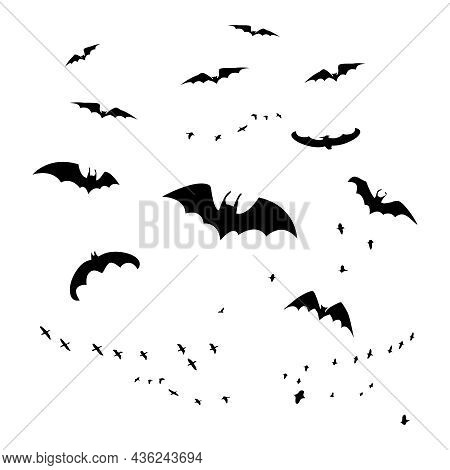 Horror Bats Group Isolated On White Background. Flittermouse, Night Creatures Flock. Silhouettes Of