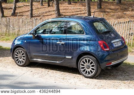 Bordeaux , Aquitaine  France - 09 30 2021 : Fiat 500 Blue Neoretro Modern Car In Rear View