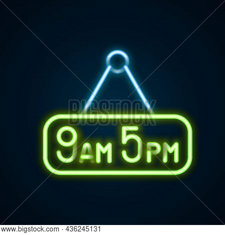 Glowing Neon Line From 9 To 5 Job Icon Isolated On Black Background. Concept Meaning Work Time Sched