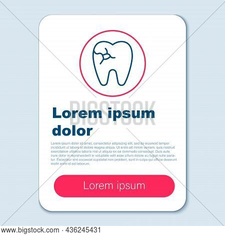 Line Tooth With Caries Icon Isolated On Grey Background. Tooth Decay. Colorful Outline Concept. Vect