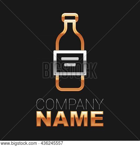 Line Glass Bottle Of Vodka Icon Isolated On Black Background. Colorful Outline Concept. Vector