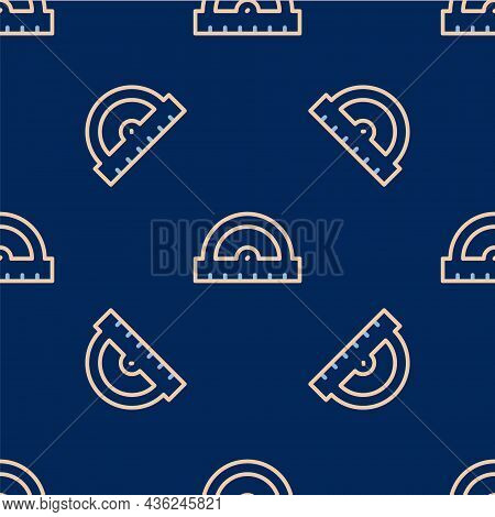 Line Protractor Grid For Measuring Degrees Icon Isolated Seamless Pattern On Blue Background. Tilt A